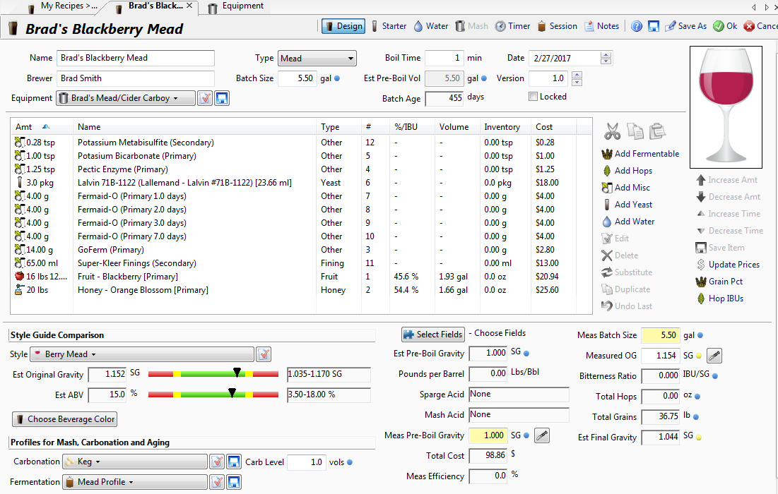 Creating a Mead Recipe with BeerSmith 3 Software