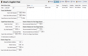 New Two Stage Yeast Starter Calculator